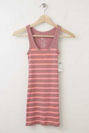 NEW Gap Women's Essential Overdyed Striped Rib Tank in Orange Stripe
