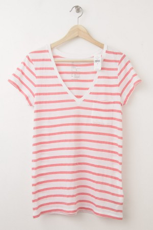 NEW Gap Women's The Essential Stripe V-Neck Pocket Tee T-Shirt in Orange Stripe