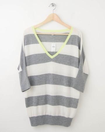NEW Gap Striped Dolman-Sleeve Sweater in Heather Grey