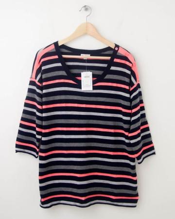 NEW Gap Neon Striped Button-Shoulder Sweater in Navy Uniform Women's L