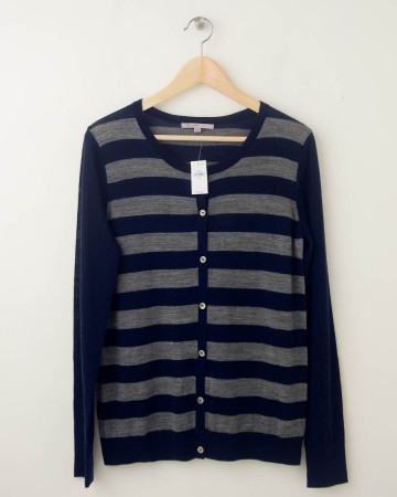 NEW Gap Striped Crew Cardigan in Navy Uniform Women's Medium