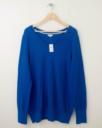 NEW Gap Pique V-Neck Sweater in Blue Streak Women's Extra Large