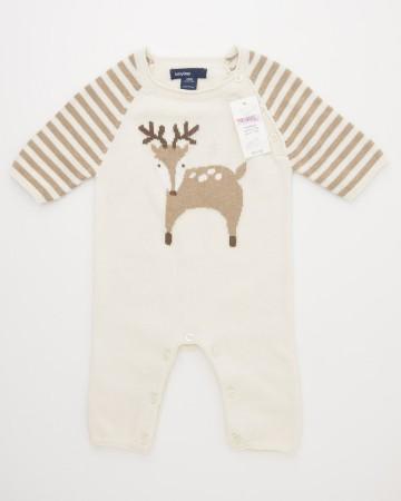 NEW babyGap Favorite Intarsia Deer One-Piece Sweater Onesie in French Vanilla