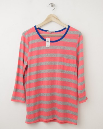 NEW Gap Luxe Jersey Striped Ringer Tee in Diva Pink