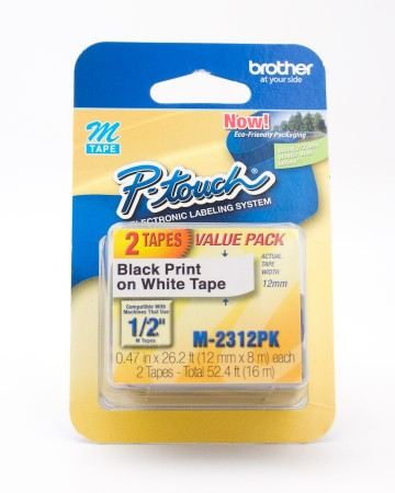 Brother P-Touch M-Tape Black Print on White Tape 2 Pack M-2312PK