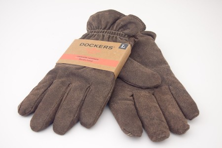 NEW Dockers Genuine Leather Fleece Lined PigSplit/Knit Combo Gloves in Brown