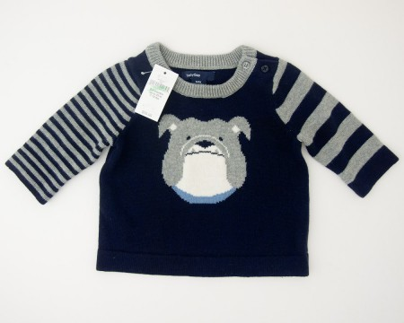 NEW babyGap Striped Intarsia Bulldog Sweater in Blue Galaxy