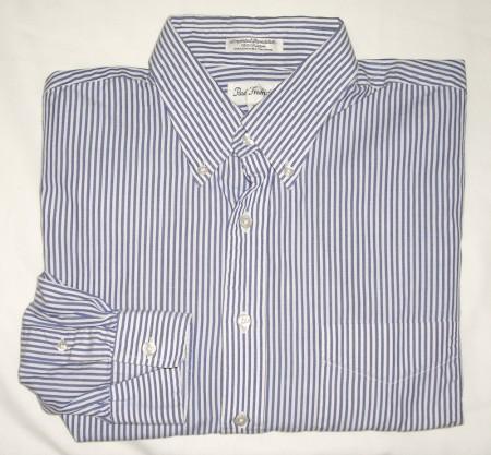 Paul Fredrick Striped Broadcloth Dress Shirt Men's 17-33