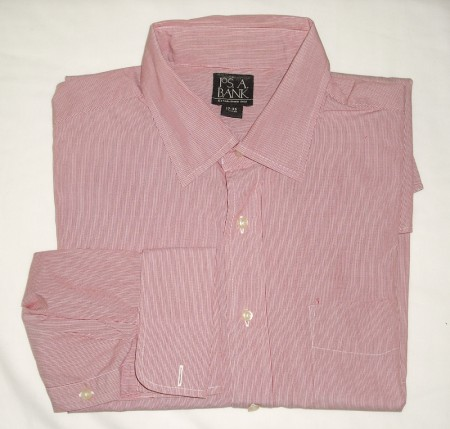 Jos A Bank Striped Dress Shirt w/French Cuffs Men's 17-35