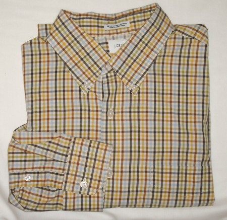 J Crew Tattersall Dress Shirt Men's Large - L - 16-16.5