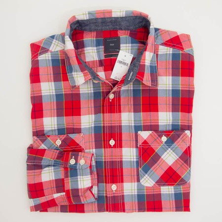Gap Plaid Double Patch Pockets Shirt in Rocket Red