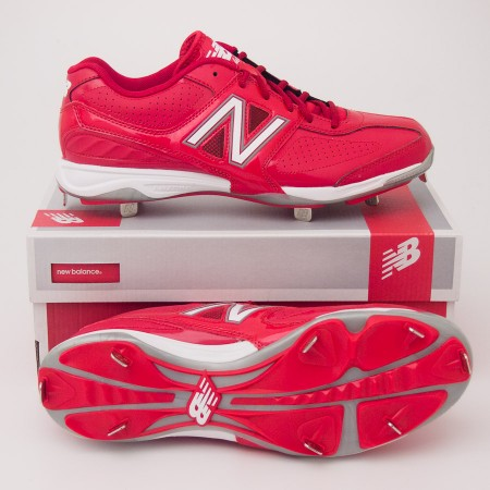 New Balance 4040 Low Cut Baseball Cleats MB4040AR in Red with White