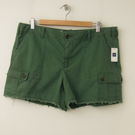 New Gap Women S Frayed Cargo Shorts In Jungle Green