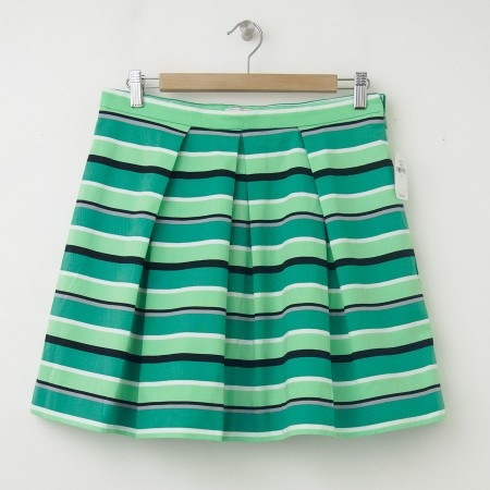 NEW Gap Pleated Striped Fit and Flare Skirt in Blue Green Stripe