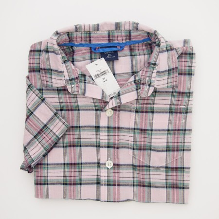 NEW GapKids Boy's Short Sleeve Plaid Shirt in Pink Plaid