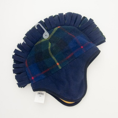 NEW GapKids Pro Fleece Mohawk Hat in Bright Blue Tartan