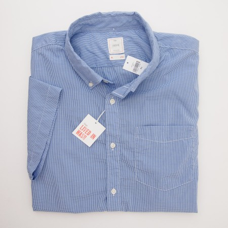 Gap Lived-In Wash Short Sleeve Micro Check Shirt in Tile Blue