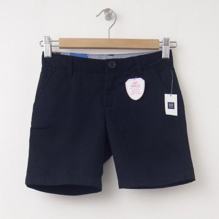 "NEW GapKids Girl's GapShield Uniform Flat Front Shorts (6"") in Deep True Navy"