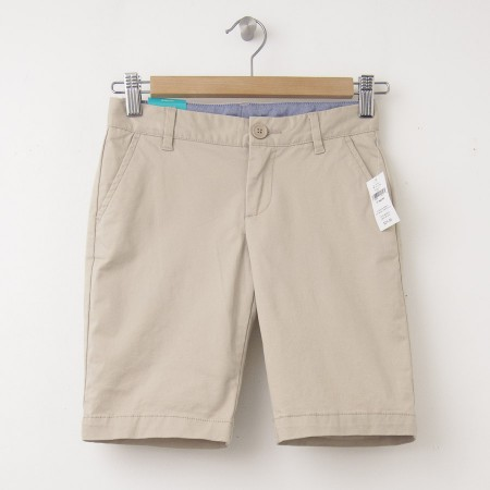 "NEW GapKids Girl's Uniform Skinny Stretch Bermuda Shorts (8"") in Wicker Beige"