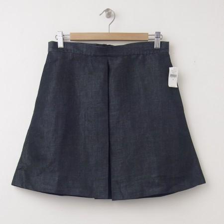 NEW Gap Linen Blend Single Box Pleat Skirt in Medium Chambray