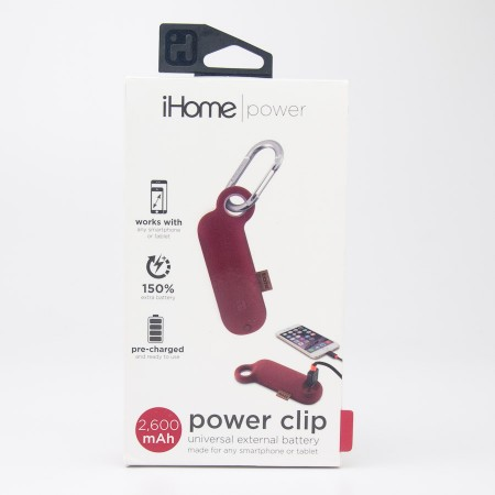 iHome Power Clip Universal External 2600 mAh Battery IH-CT4010R in Red