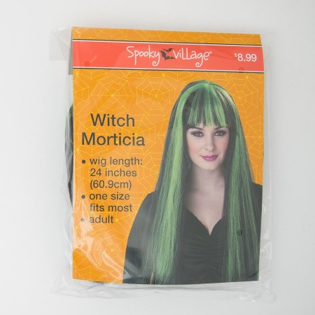 Spooky Village Witch Morticia Adult Wig in Black with Green