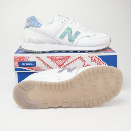 New Balance Women's Leather 574 Classics Running Shoes WL574LEA in White