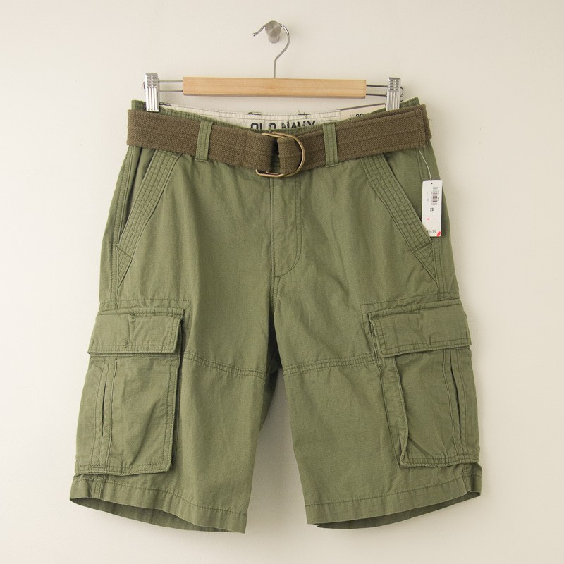 online here buy good more photos NEW Old Navy Cargo Shorts in Green Ripstop with Belt Men's 28