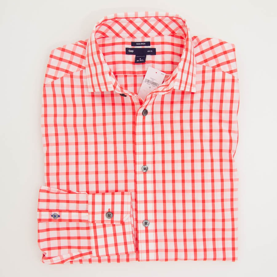 Gap Non Iron Large Gingham Slim Fit Dress Shirt In Lava Orange