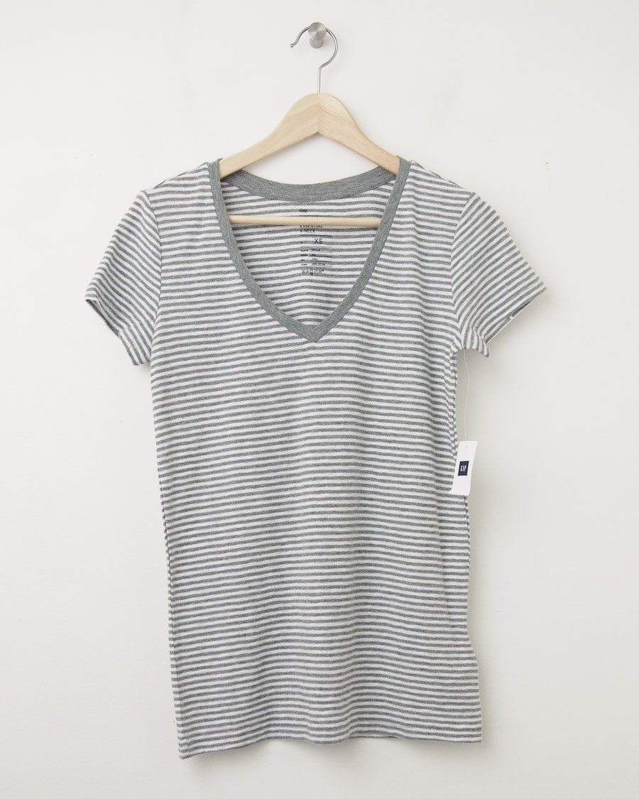New gap women 39 s the essential stripe v neck tee t shirt in for Grey striped t shirt