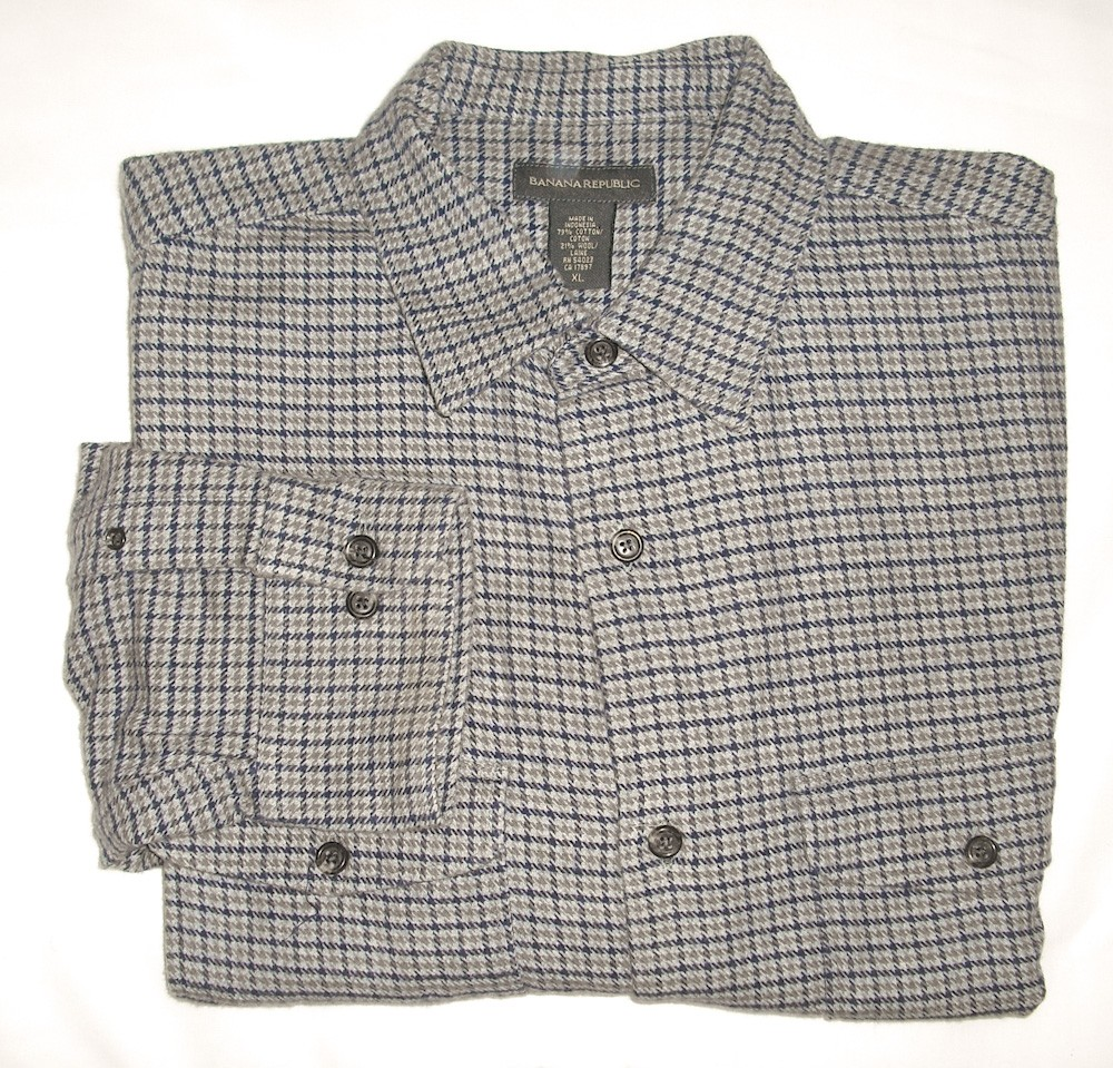 Banana republic wool blend flannel shirt men 39 s extra large for Mens xl flannel shirts