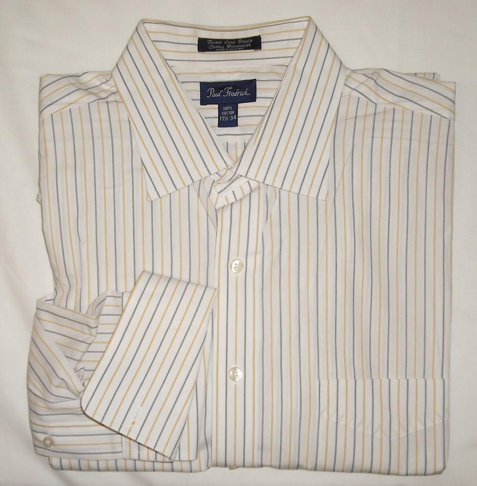 Paul Fredrick Mens Cotton Tread Stripe French Cuff Dress Shirt