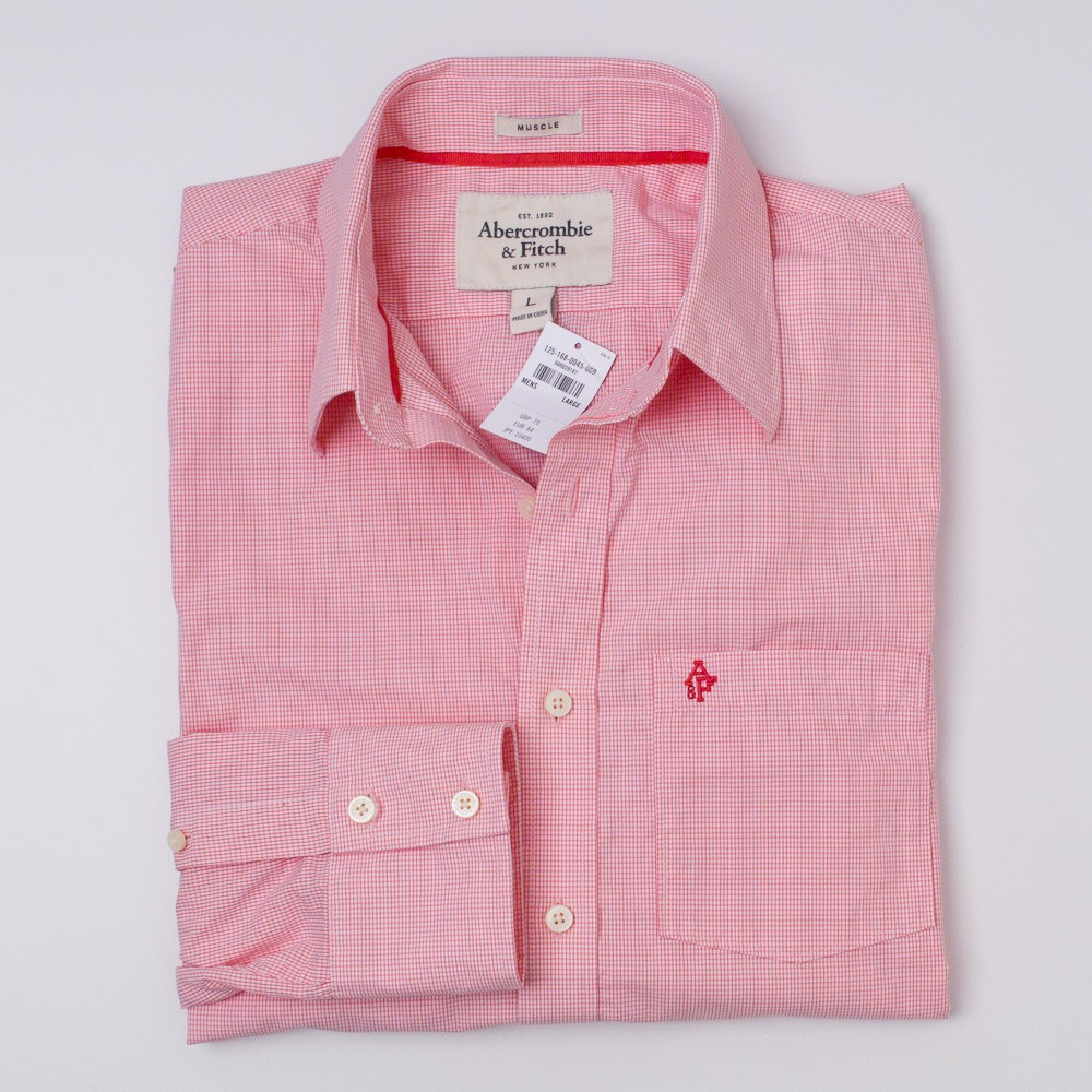 Abercrombie & Fitch Pink Check Shirt Men's L - Large