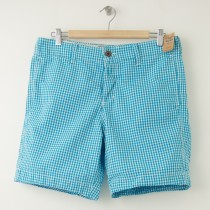 NEW Hollister Marina Park Shorts in Turquoise Gingham Plaid