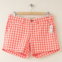 "NEW Old Navy 5"" Perfect Shorts in Bright Coral Gingham Plaid"