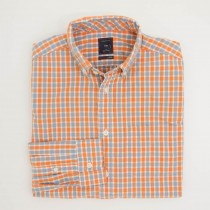 Gap Lived-In Wash Wide Checkered Shirt in Coral Garden