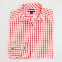 Gap Non-Iron Large Gingham Slim Fit  Dress Shirt in Lava Orange