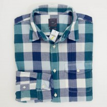 Gap Herringbone Buffalo Plaid Shirt in Forest Green