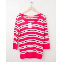 NEW Gap Neon Striped Pullover Sweater in Diva Pink