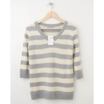 NEW Gap Neon Striped Pullover Sweater in Heather Grey Women's XS