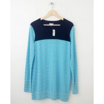 NEW Gap Colorblock Striped Tunic Sweater in Turquoise Joy