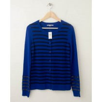 NEW Gap Striped Sequin Crew Cardigan in Royal Blue