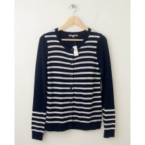NEW Gap Striped Sequin Crew Cardigan in True Indigo Women's Small