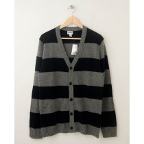 NEW Old Navy Rugby Striped Cardigan Sweater in Black Jack