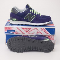 New Balance Women's Retro 574 Classic Running Shoes Navy Volt WL574NVT
