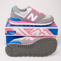 New Balance Women's Heather Neon 574 Classic Shoes in Grey WL574HGP
