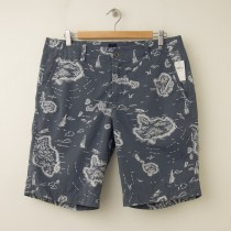 NEW Gap Sunfaded Island Print Shorts in Blue Grey