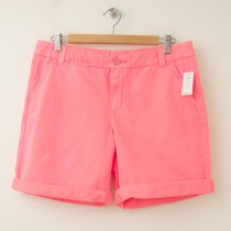 NEW Gap Women's Boyfriend Roll-Up Shorts in Neon Blazing Pink