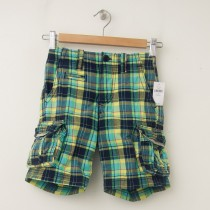 NEW GapKids Boy's Jaipur Cargo Shorts in Yellow & Blue Plaid