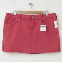 NEW Gap 1969 Raw Edge Denim Mini Skirt in Red Peach